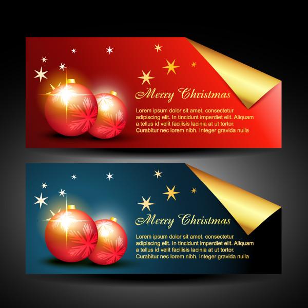 美しく輝くクリスマス バナー beautiful christmas banner vector2