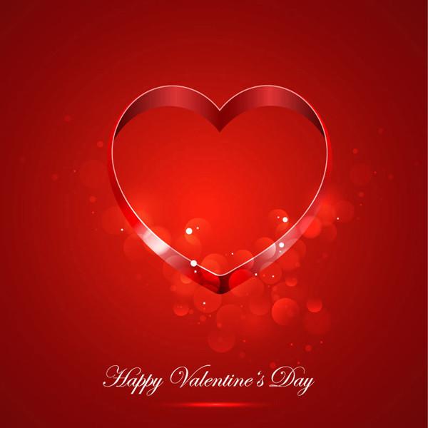 赤いハート型リングのバレンタインデー背景 Card for Valentine Day With Heart
