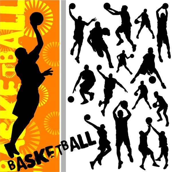バスケットボールのシルエット basketball silhouette vector2