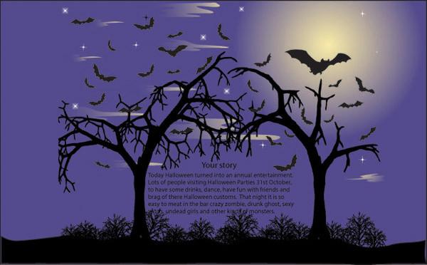 恐ろしいハロウィンの夜の背景 halloween night dead trees2