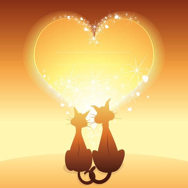 猫とハートのバレンタインデー背景 Heart cat happy valentine day1