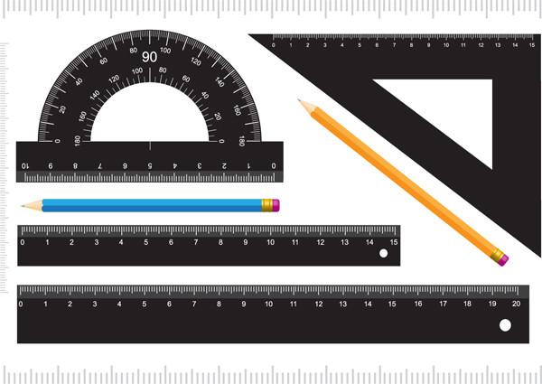 定規と文房具 measurement stationery vector1