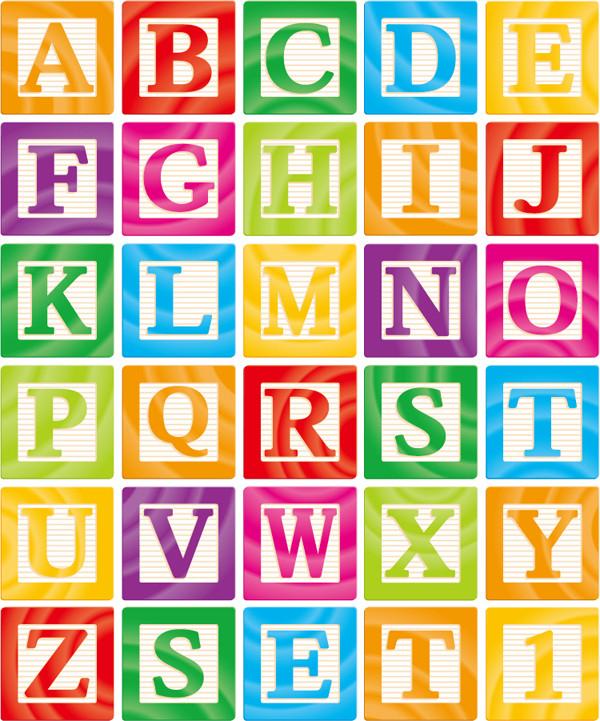 枠付きアルファベット デザイン cute English letters word art