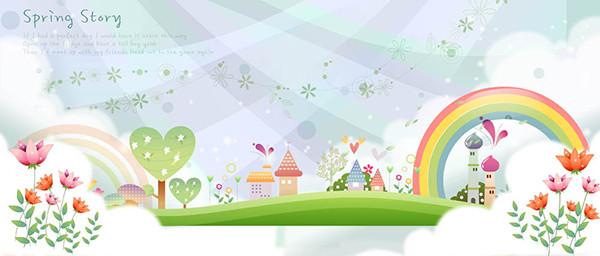 虹が架かった可愛い街並み Cute cartoon rainbow houses