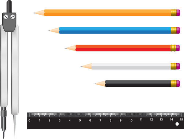 定規と文房具 measurement stationery vector3
