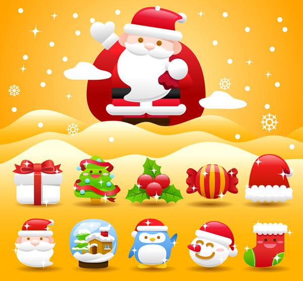 クリスマス関連の可愛いアイコンセット christmas holiday icon
