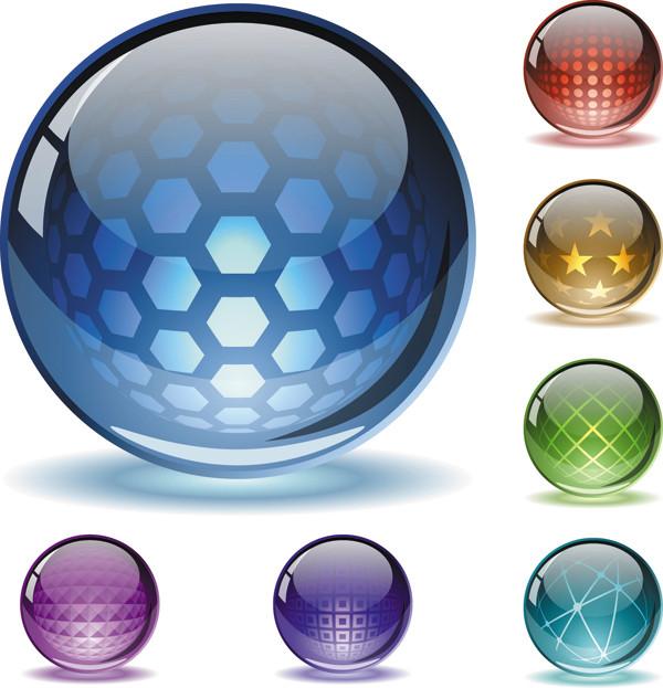 美しいテクスチャのガラス玉アイコン fine texture glass ball icons