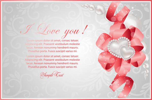 リボン飾りのバレンタインデーカード Valentine's Day greeting cards ribbons hearts