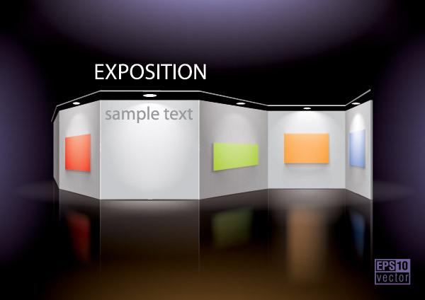 テキスト用に空白の展示パネル vector blank panels3