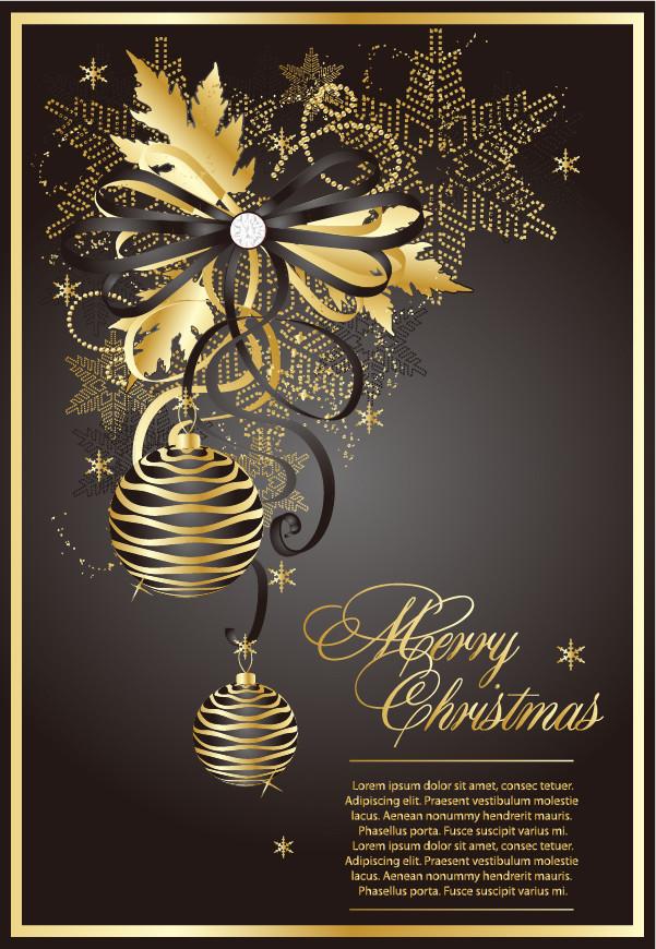 金色のクリスマス飾りの背景 golden christmas theme vector