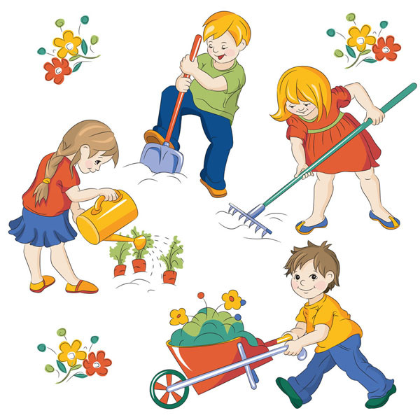 花の世話をする子供 Cartoon cute kids labor water the plants