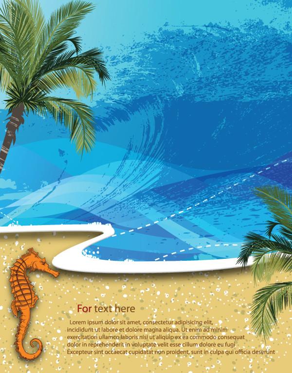 夏の浜辺を描いた背景 summer beach background