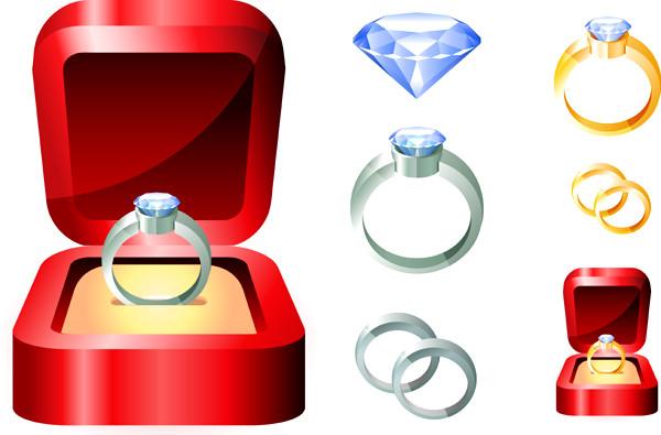 ダイヤモンドリングのクリップアート Beautiful Diamond Ring Vector Graphics