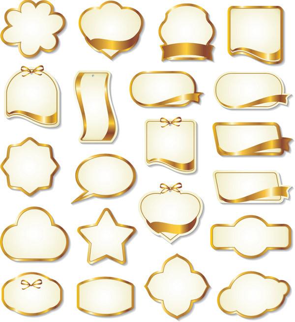 金色のリボン飾りのラベル テンプレート gold ribbon label vector3