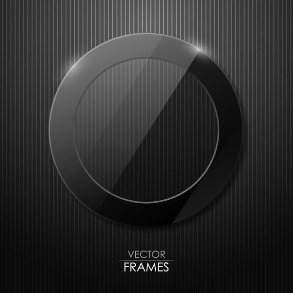 黒いガラス質感の円形フレーム black cool glass texture circle frame