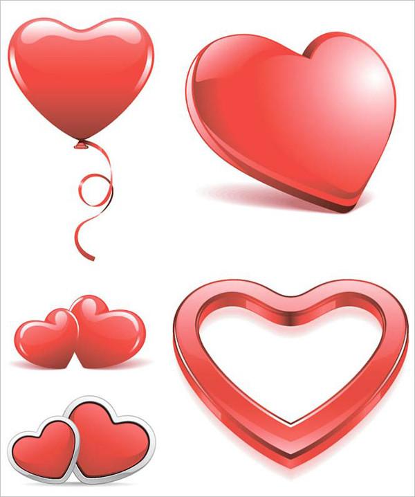 バレンタインデーの立体的な赤いハート red heart templates for your decorations, St. Valentines day designs