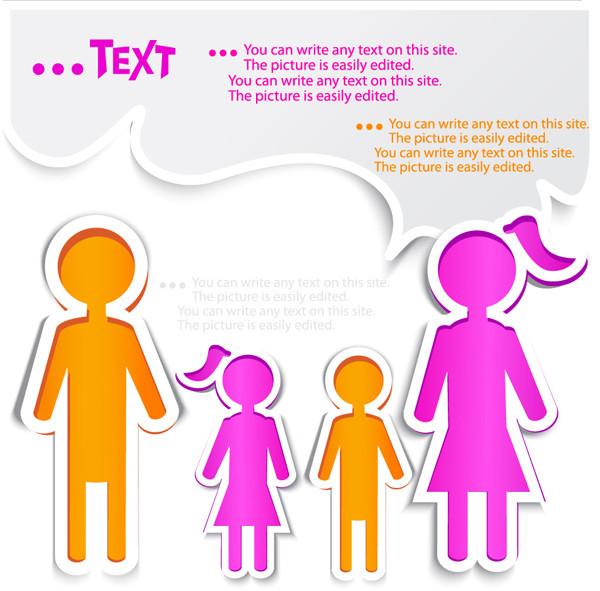 家族の切り絵の吹き出し labels background dialog box
