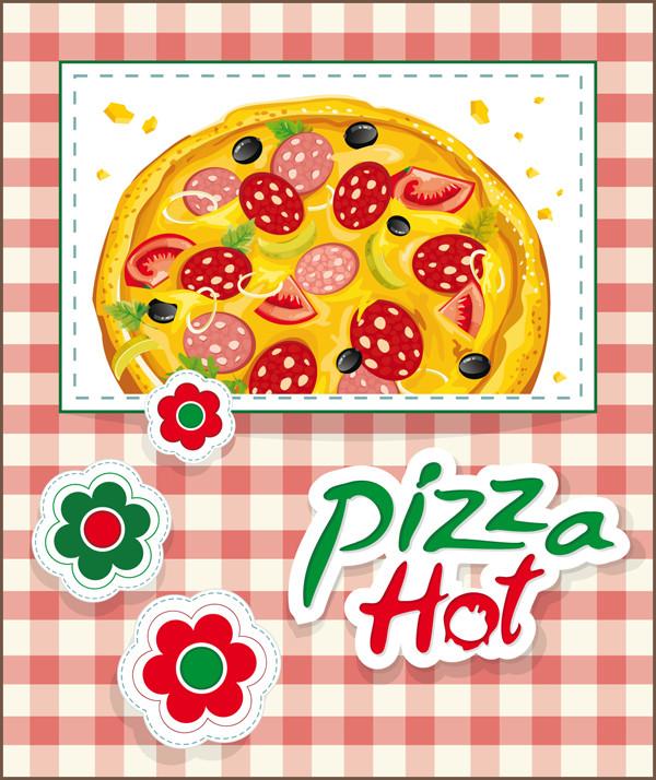 美味しそうなピザのイラスト cartoons pizza vector material