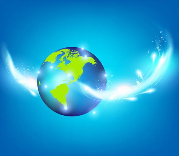 青い地球と光の背景 Blue Planet Creative Inspiration Vector