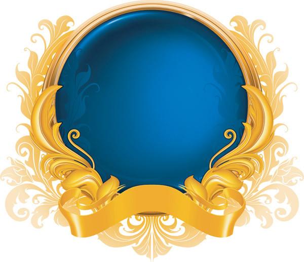 お洒落なリボン飾りの美しい球体 gold ribbon graphics pattern1