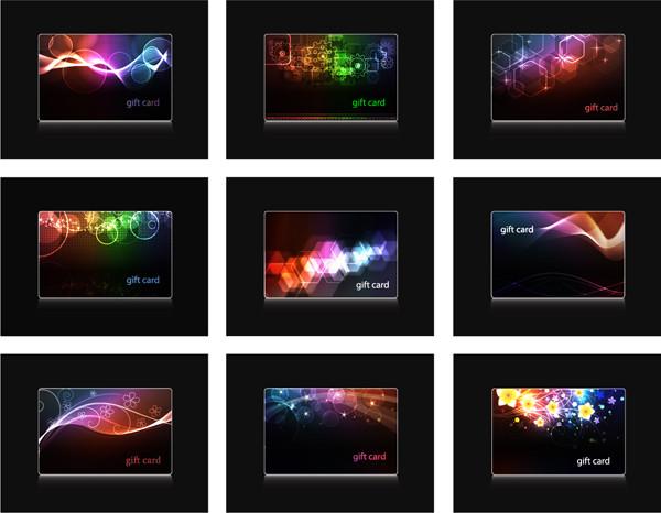 虹色に輝く背景のカード テンプレート Halo cards dynamic flow line bright pattern