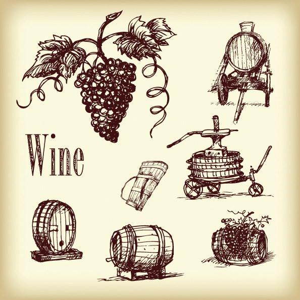 ワイン関連グッズの線画 vector line drawing wine2