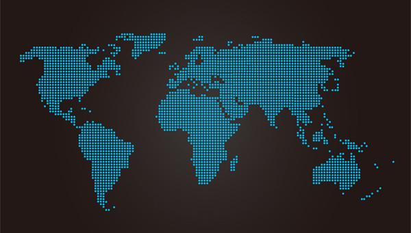 ドットで描いた世界地図 Dotted World Map Vector