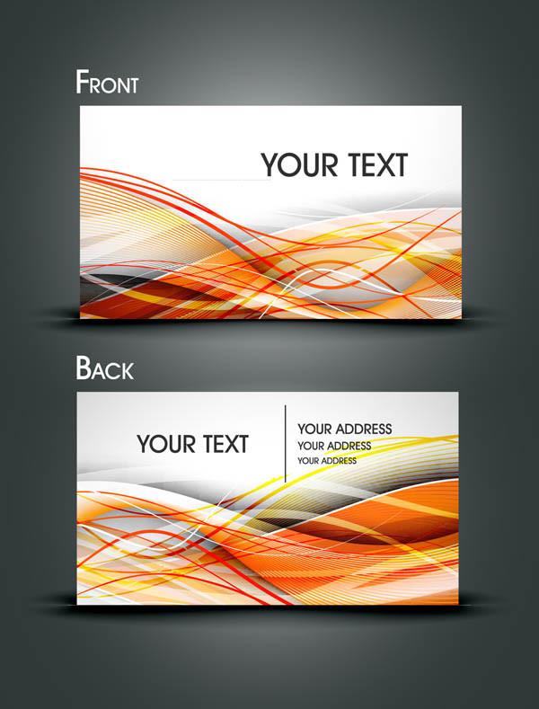 優雅な曲線を背景にした名刺テンプレート gorgeous dynamic flow line card5