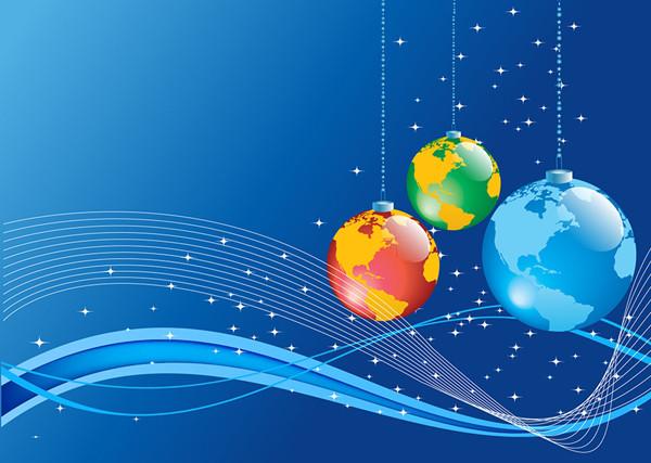 地球儀を吊り下げたクリスマスボールの背景 Christmas Background with Earth globe ball