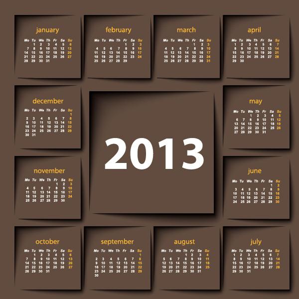 鮮やかなカレンダー テンプレート Vivid 2013 calendar templates vector4