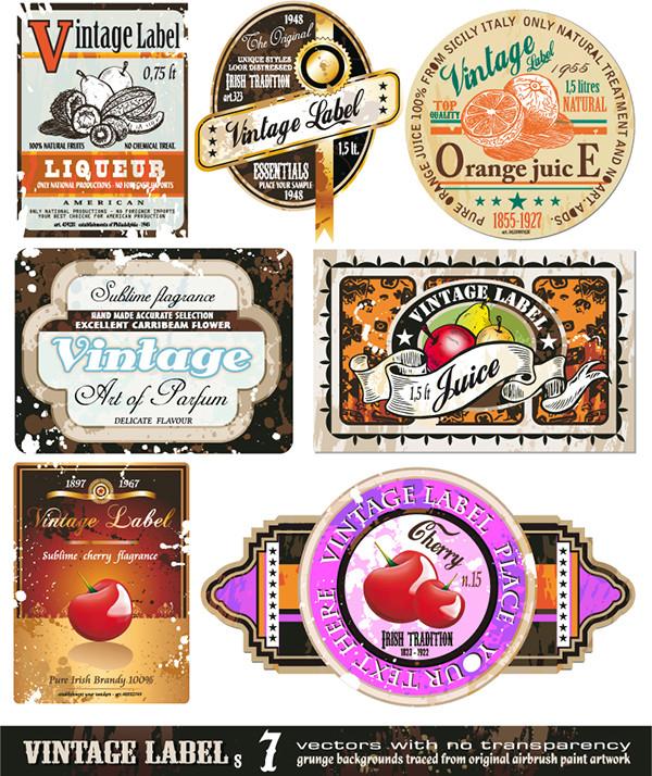 レトロなラベルのデザイン見本 European-style retro labels screen stickers4