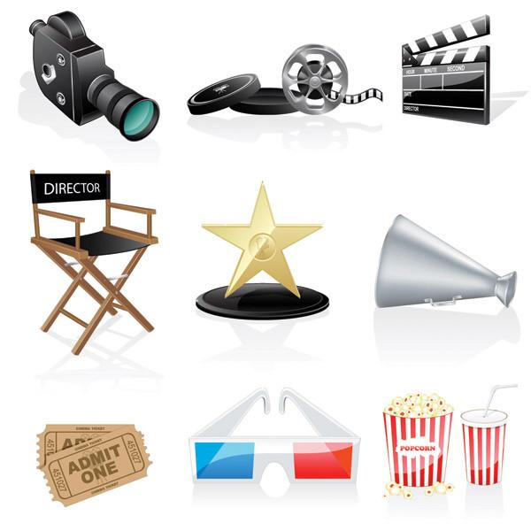 映画関連のクリップアート Movies cinema projectors