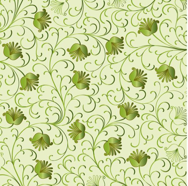 シームレスな緑の植物柄背景 Green Floral Background Vector