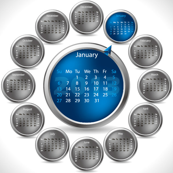 新年のカレンダー テンプレート 2013 New Year calendar grids2