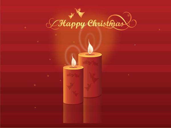 輝くクリスマス・キャンドル Shining Christmas Candles Vector Illustration