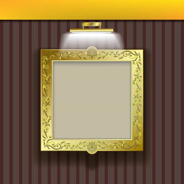 証明で美しく輝く金色の額縁 lighting lamps wallpaper photo frame