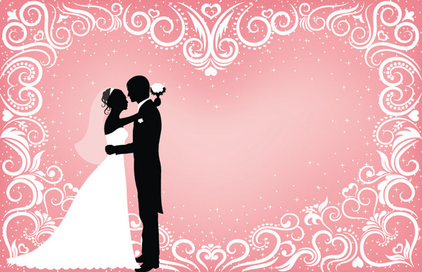 結婚式のシルエット people wedding silhouette vector