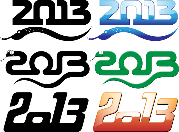 干支のへびで象った数字ロゴ 2013 labels and logos with snake-shaped templates2
