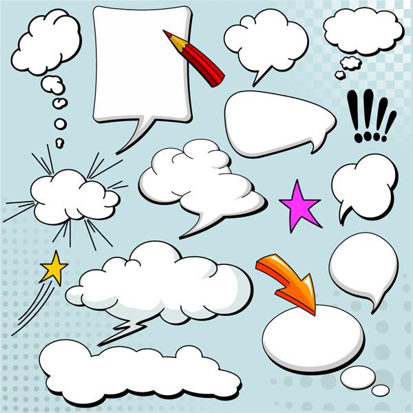 動きのある形の吹出し cartoonstyle mushroom cloud layer dialog