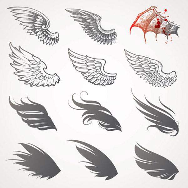 美しい翼のクリップアート variety of wings vector4
