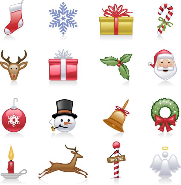 光沢あるクリスマス関連アイコン christmas icons vector
