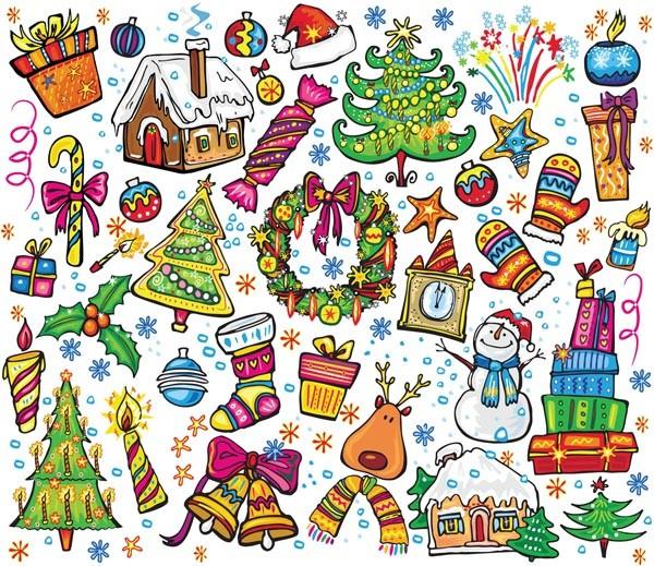 手描き風のクリスマス飾り素材 christmas illustration vector