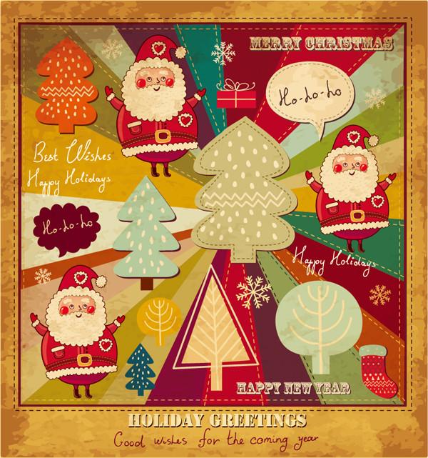 切り絵風のサンタクロースの背景 cartoon christmas card
