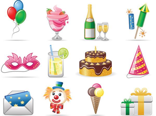 誕生日をテーマにしたアイコン birthday theme icon vector3