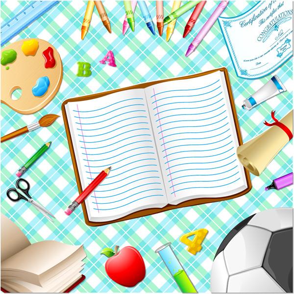 文房具の背景 school background stationery items2