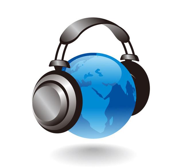 立体的な地球とヘッドホン 3D Earth Globe With Headphones