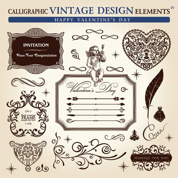 ヴィンテージスタイルの優雅な修飾素材 retro old-fashioned pattern4