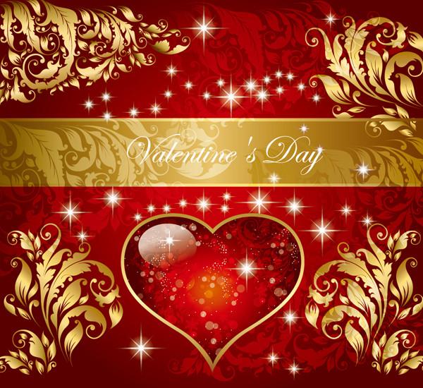 バレンタインデー 帯付きのゴージャスな背景 valentine gorgeous pattern vector1
