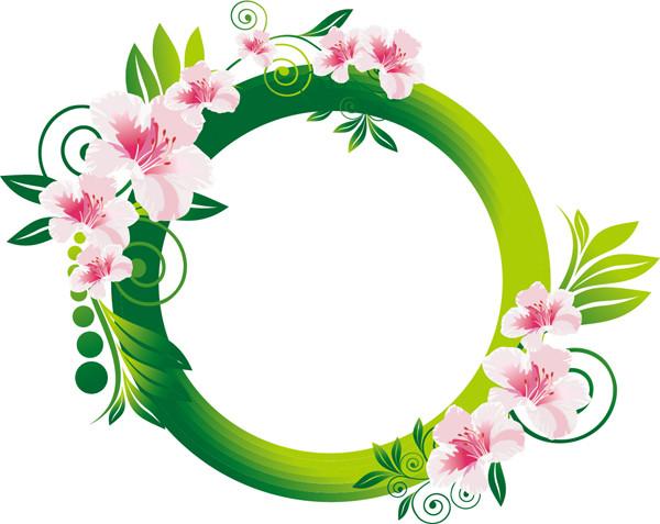 緑が鮮やかな花輪のフレーム Beautiful Flowers Frame