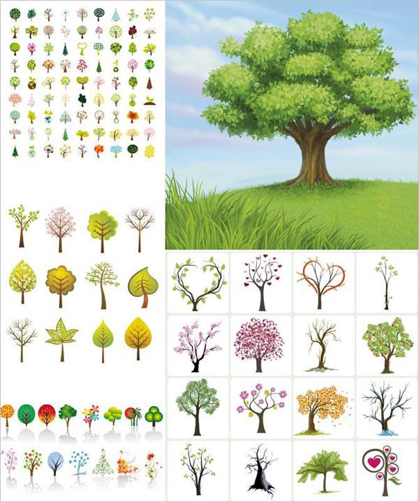 様々な種類の樹木のイラスト abstract and realistic trees in different styles